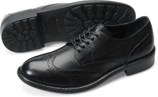 Men's Born Bainbridge Casual Lace Up WingTip Oxford Black Leather H10803