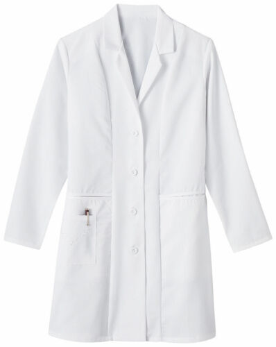 Meta Women/'s 36 Inches Long Sleeve Three Pockets Embroidered Lab Coat 767