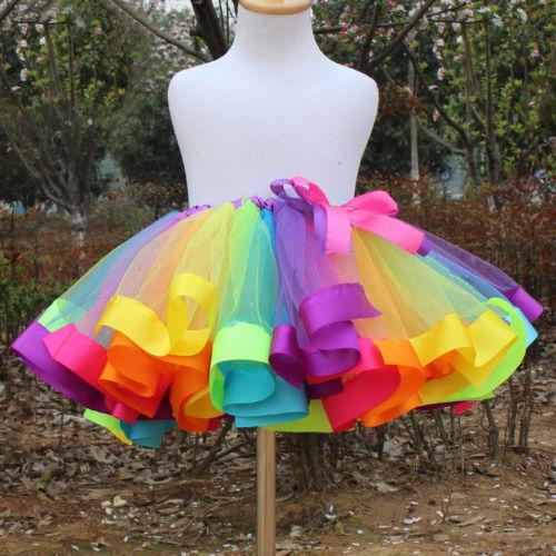 Kids Girls Dance Ballet Tutu Skirt Tulle Dress Toddler Rainbow Bow Costume Dress