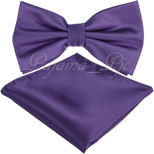 Lavender Purple Men/'s Butterfly Style Pre-tied Bowtie /& Pocket Square Hanky Set