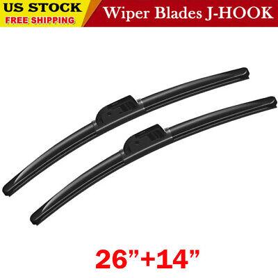 "Windshield Wiper Blades J-HOOK OEM QUALITY 26/"" /& 17/""  INCH Bracketless"
