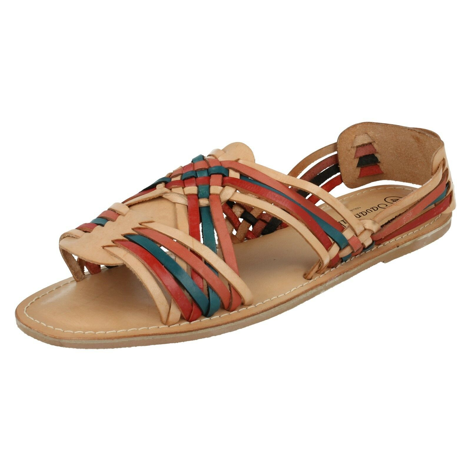LADIES STRAPPY SAVANNAH SLIP ON LEATHER STRAPPY LADIES OPEN TOE SUMMER SANDALS L6726 092565