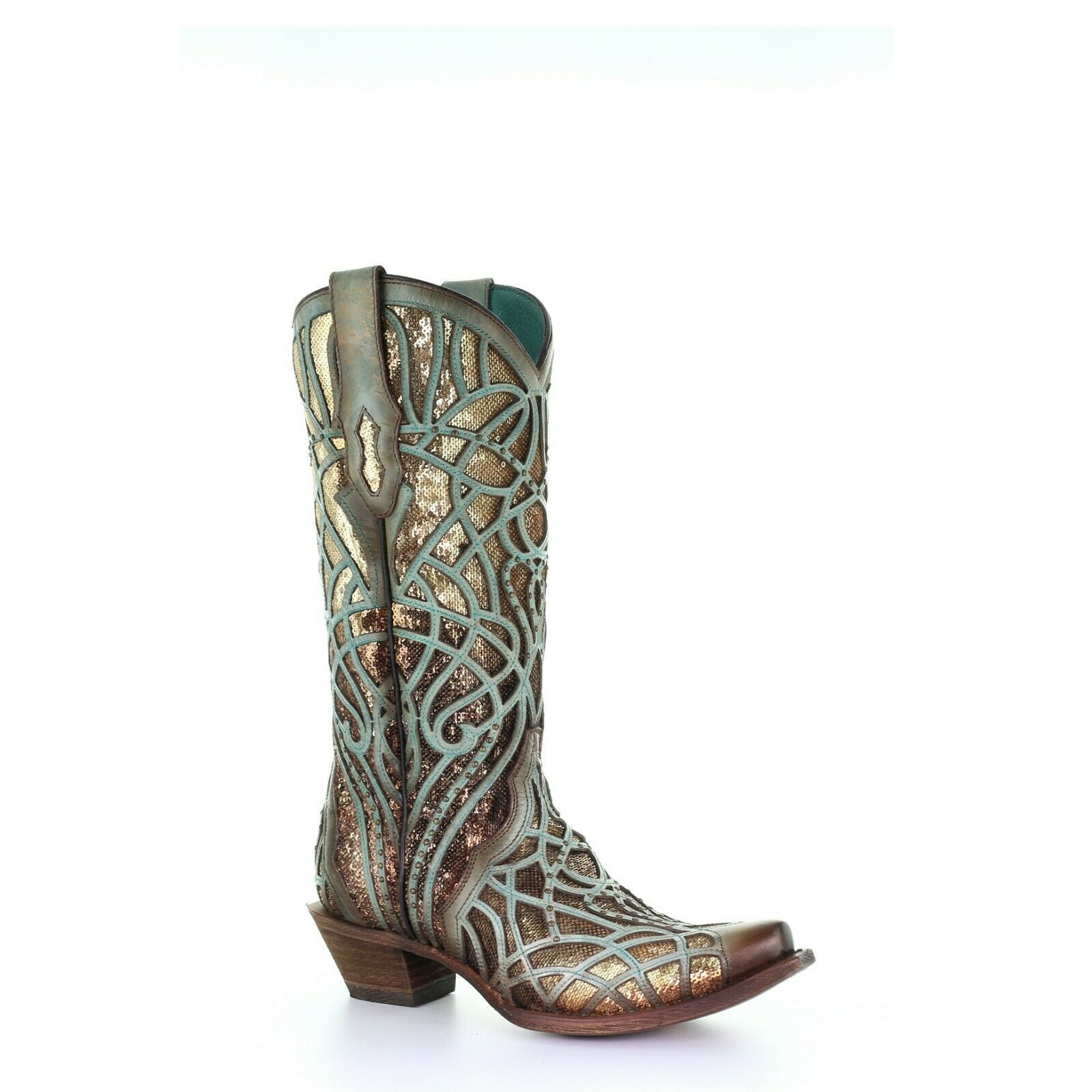 Corral Ladies Turquoise Glitter Inlay & Embroidery Studs stivali C3511
