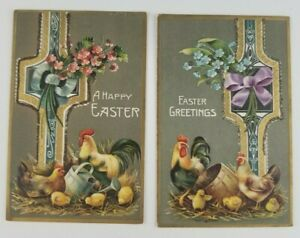 Postcard-Happy-Easter-Greetings-Rooster-Chicks-Flowers-Lot-of-2