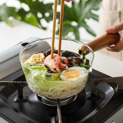 GLASS COOKING POT WITH WOODEN HANDLE FOR SOUP OR NOODLES FOOD GAS STOVE COOKWARE
