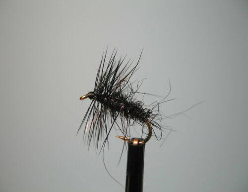 16 available 3 X BLACK SPIDER  DRY TROUT FLIES sizes 10 14 12