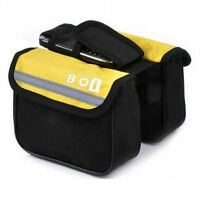 Yellow Cycling Bike Sports Bicycle Frame Pannier Front Tube Double-Saddle Bag