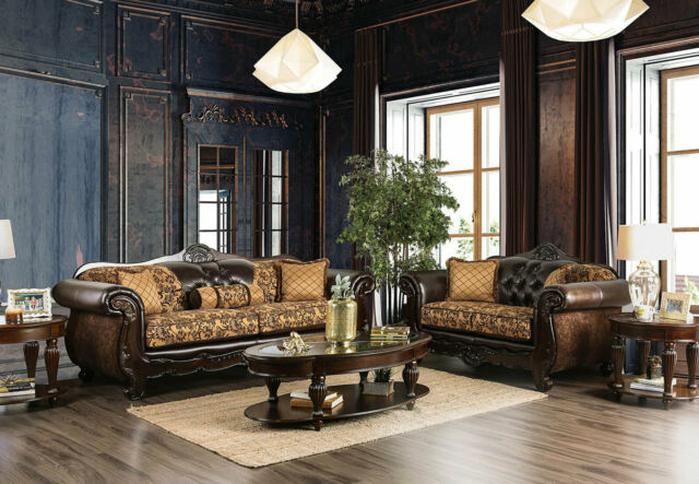 New Traditional Living Room Wood Trim Brown Leatherette Fabric Sofa Set Igd5