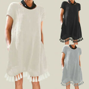 Women-Short-Sleeve-Mini-Dress-Summer-Pocket-Tassle-Boho-Kaftan-Tunic-Plus-Size