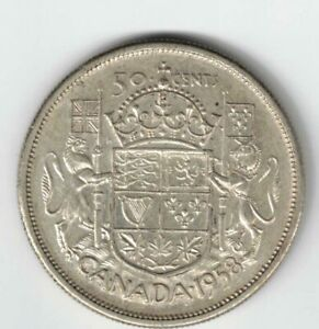 CANADA-1958-DOT-50-CENT-HALF-DOLLAR-QUEEN-ELIZABETH-CANADIAN-800-SILVER-COIN