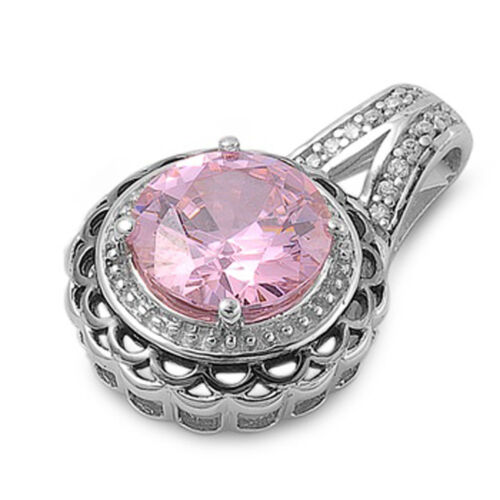 Round Solitaire Pendentif Rose Simulée CZ Clear CZ .925 Sterling Silver Charm