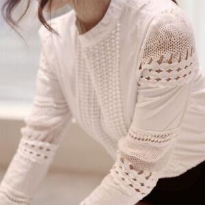 Blouse-Women-039-s-Casual-Lace-Crochet-Hollow-Slim-Long-Sleeve-Shirt-Shirt-Top-Solid