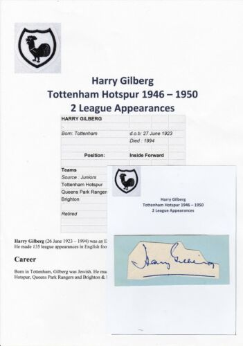 HARRY GILBERG TOTTENHAM HOTSPUR 19461950 RARE ORIGINAL HAND SIGNED CUTTINGCARD