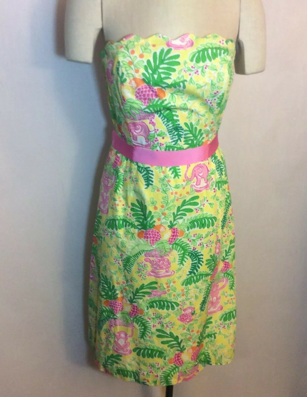 Lilly Pulitzer Touchy Feely 2012  Yellow Cotton Strapless Dress Size 8 EUC