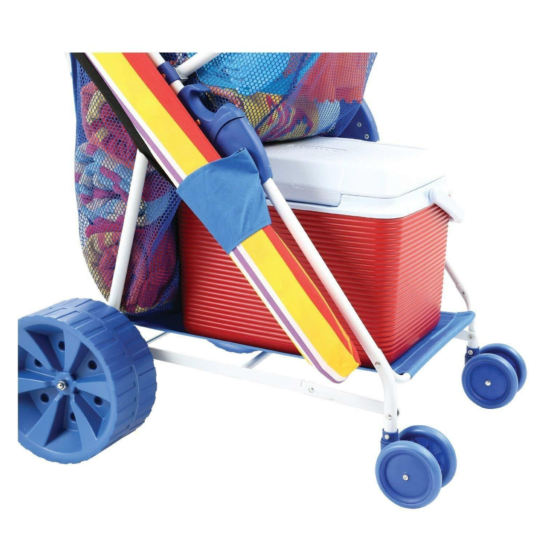 Folding Beach Cart Wagon Sand Outdoor wonder wheeler sports Wide Wide Wide Terrain Wheels 664ab6