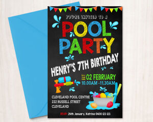 Image Is Loading Printable Personalised Boy Birthday Invitation Pool Party Any