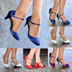 WOMENS-SATIN-LOW-KITTEN-HEEL-FULL-TOE-STRAPPY-BRIDAL-WEDDING-SHOES-SIZES-3-8