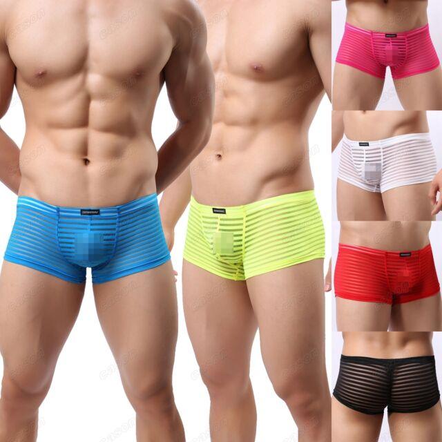 Brand Men's Striped Sheer Boxer Briefs Sexy Confortable Trunks Underwear M L XL