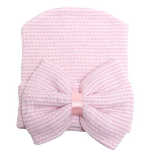 Newborn Baby Girl Boy Infant Striped Cap Hospital Soft Beanie Bow Hat Hot