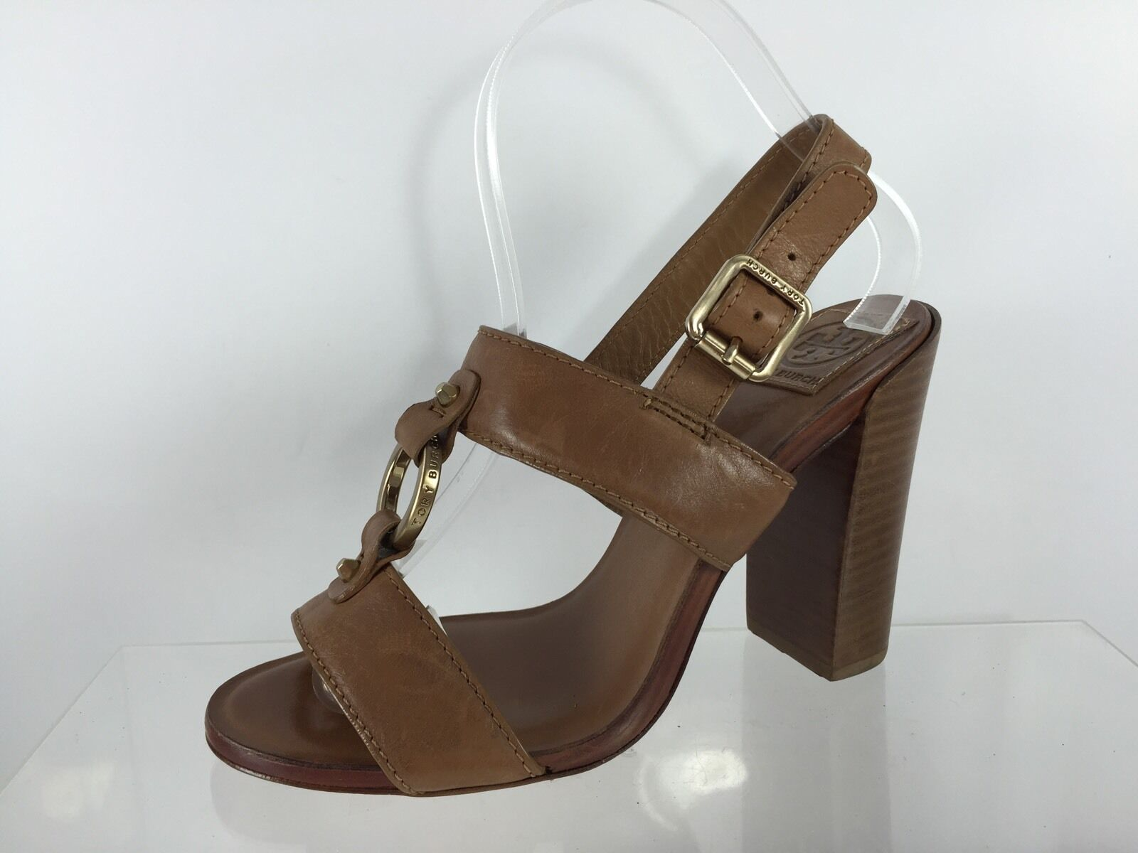 Tory Burch Donna Brown Leather Heels 8 M