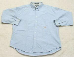 41d259f0 Tommy Hilfiger Dress Shirt XXL Long Sleeve Cotton Men's Man's Blue ...