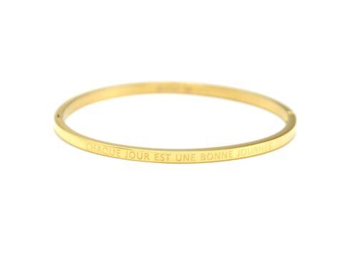 Bracelet Jonc Fin Acier Doré avec Message Chaque Jour Est Une Bonne... BC3019F