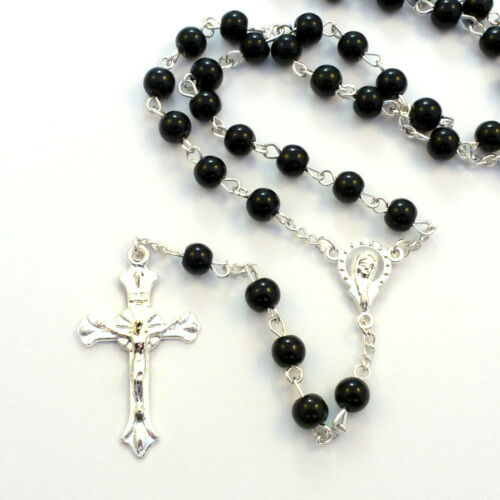 Black round glass rosary with silver center 50cm length suitable for men