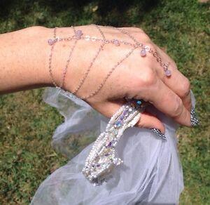 Bride-Wedding-Hand-Jewelry-Amethyst-Stone-Sterling-Silver-Chain-Slave-Bracelet