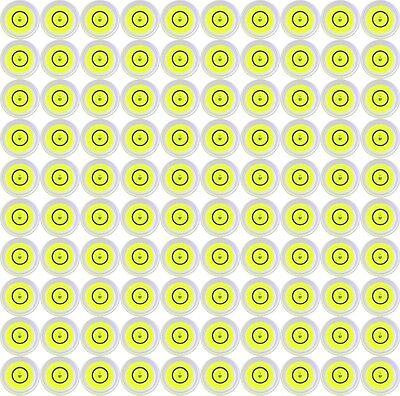 100 X 14mm X 8mm Disco Burbuja Nivel Spirit Redondo Circular Amarillo Nuevo Aliviar El Reumatismo Y El FríO