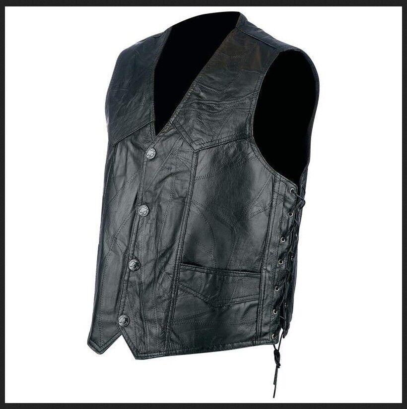 Weste Jacket Leder Patchwork + Schnürsenkel - Biker / Land - M L XL 2XL 3XL