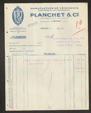 """FIRMINY (42) USINE de CONFECTION / VETEMENTS pour HOMME """"PLANCHET & Cie"""" en 1934"""