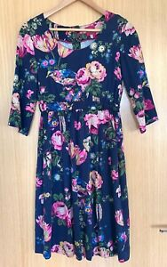 Joules-Ladies-Dress-6-Navy-Floral-Leila-Classic-Design-Smart-Casual-Work