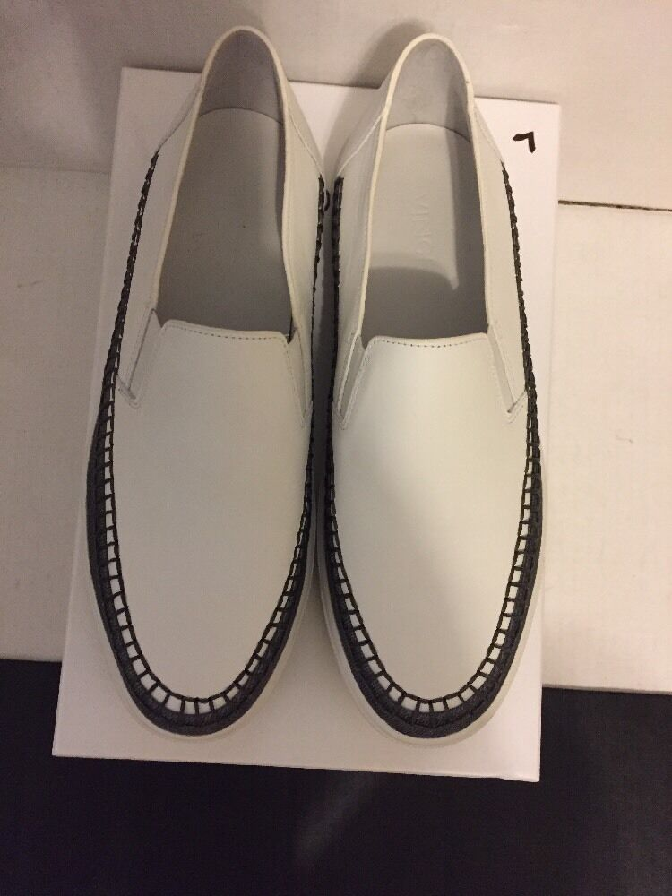 NIB VINCE BATES WHITE/DENIM TRIM LEATHER SLIP ON SNEAKER SHOE  7.5  250 SOLD OUT