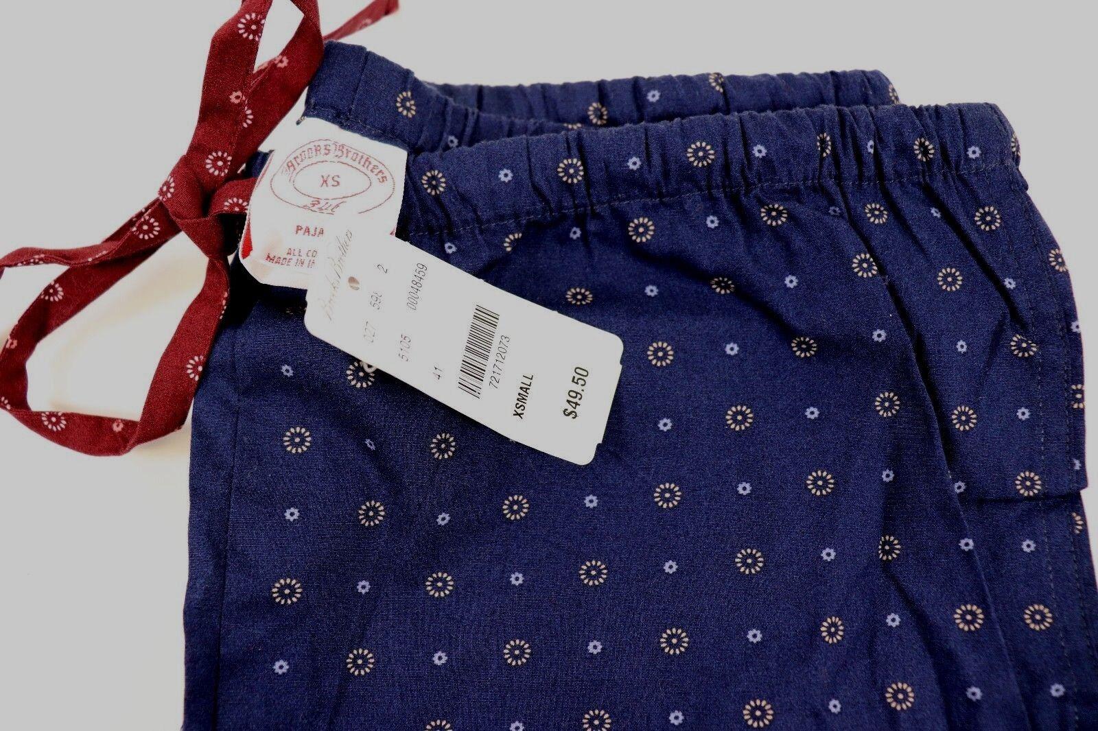 NWT BROOKS BredHERS Size XS Women's Navy Medallion Cotton Lounge Pants