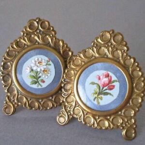 """Pr Antique Miniature 2.5"""" Decorative Stamped GILT Brass Frames Easel Backs DOLLS"""
