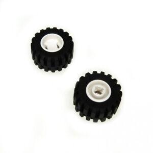 8-x-Lego-System-Rad-schwarz-weiss-11mm-D-x-12mm-Reifen-Felge-Raeder-6014b-601
