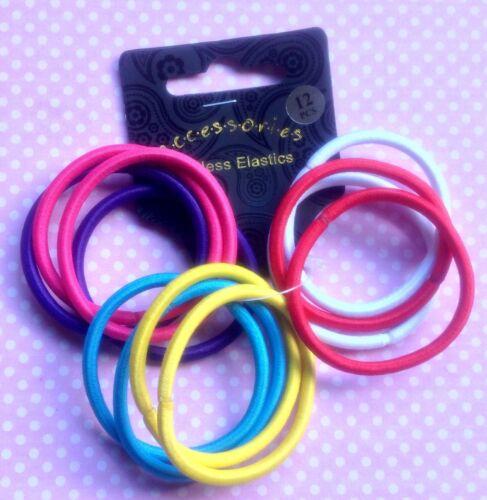 Set de 12 élastiques à cheveux infinies de cheval bande couleur choix Gym École snag libre