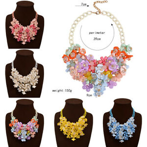 Charm-Woman-Crystal-Flower-Pendant-Chain-Statement-Bib-Chunky-Choker-Necklace