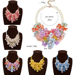 Charm-Woman-Crystal-Flower-Pendant-Chain-Statement-Bib-Chunky-Choker-Necklace