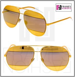 86e7f413113b8 CHRISTIAN DIOR Split 1 Orange Gold Metal Aviator Mirrored Sunglasses ...