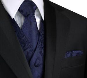 TIE /& HANKIE SET DRESS MEN/'S PURPLE PAISLEY TUXEDO VEST FORMAL PROM WEDDING