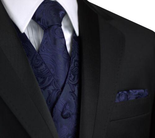 MEN/'S NAVY PAISLEY TUXEDO VEST TIE /& HANKIE SET Wedding Prom Cruise Formal
