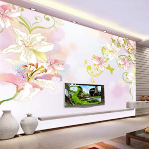 3D Lily Flowers Vine 8 Wall Paper Murals Wall Print Wall Wallpaper Mural AU Kyra