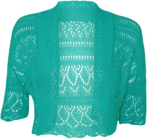 New Women/'s Crochet Knitted Ladies Bolero Waterfall Cardigan Top Shrug Size 6-30