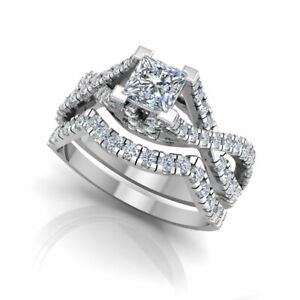 1.06 Ct Princess Moissanite Band Set 14K Real White Gold Proposal Wedding Ring