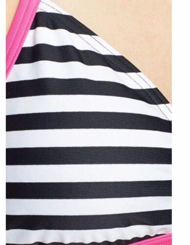 NWT $54 ROXY FLIP SIDE REVERSIBLE T-BACK BIKINI TOP PINK BLACK WHITE UPF 50+