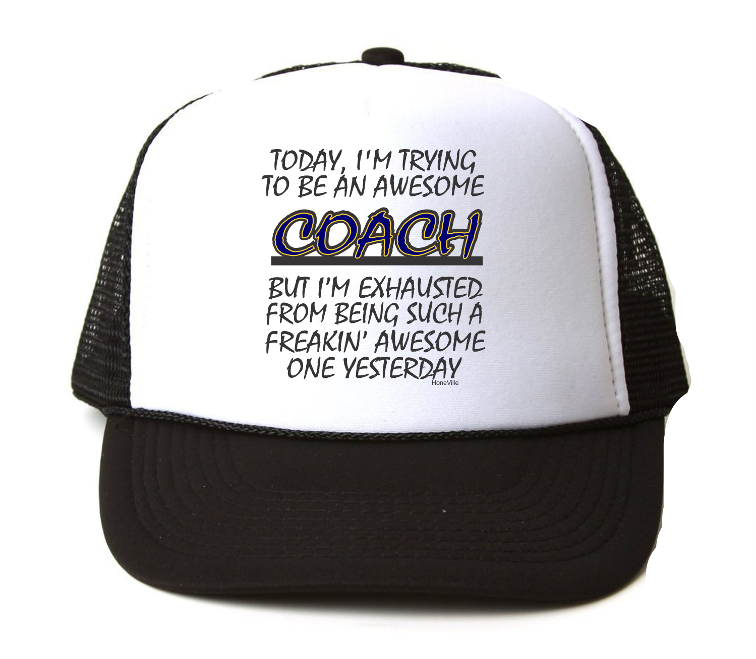 Trucker Hat Awesome Cap Foam Mesh Freaking Awesome Hat Coach Trying Exhausted 054400