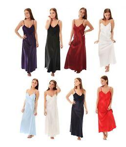1c74e7131c Image is loading Ladies-Satin-Lace-Long-Nightdress-Nightie-Deep-Lace-