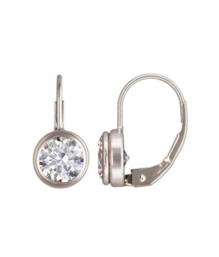 925 Sterling Silver 6mm AAA Cubic Zirconia Lever Back Earrings  #2206-1