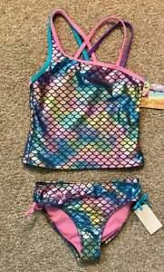 Angel-Beach-NWT-Girls-Gorgeous-Swim-Suit-Sz-10-Rainbow-Shimmer-Mermaid